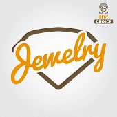 Logo, emblem, label, print, sticker or logotype elements for jewelry poster