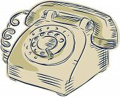 picture of bakelite  - Etching engraving handmade style illustration of a vintage telephone viewed from the front set on isolated white background - JPG