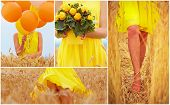foto of fanny  - collage in yellow tones of beautiful young woman on summer wheat field - JPG