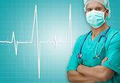 picture of dark-skin  - Dark skinned surgeon with ECG sign on background - JPG