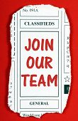 stock photo of newspaper  - Invitation to Join Our Team in red text on a newspaper clipping from the classified advertising section - JPG