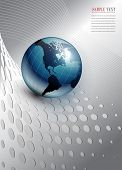 abstract business background, silver with world globe, vector. poster