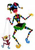 foto of jestering  - Cartoon court jester holds a marionette on a white background - JPG