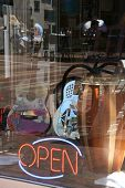 stock photo of burlington  - Reflections in music shop window Burlington Vermont - JPG