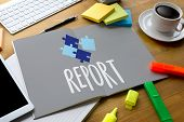 Постер, плакат: Report Information News Progress Research credit Report Text On Paper Sheet Business Documents