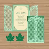 Wedding Invitation Or Greeting Card With The Gate And Ivy. Paper Lace Envelope Template. Wedding Inv poster