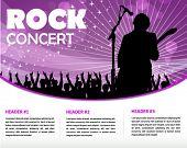 Постер, плакат: звезда певица и толпа болельщиков печать и веб шаблон