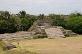 foto of ziggurat  - Aerial view of the Mayan Ruins at Altun Ha Belize