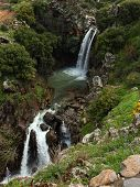 picture of golan-heights  - Banias waterfall in the spring at the Golan Heights  - JPG