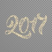 Gold glittering 2017 numbers for New Year holiday design. Vector glowing 2017 on transparent backgro poster