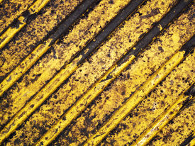 foto of road sign  - Grunge dirty yellow caution stripes background - JPG