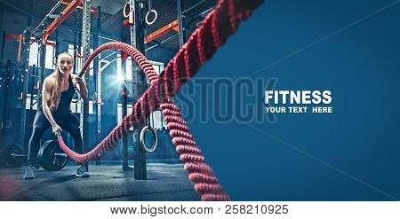 poster of Woman With Battle Rope Battle Ropes Exercise In The Fitness Gym. Gym, Sport, Rope, Training, Athlete