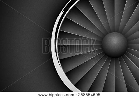poster of Jet Engine Turbine Dark Horizontal Background. Detailed Airplane Motor With Chrome Metal Ring Front