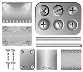 Set of silver vector backgrounds with lighting effect, screws and rivets. Easy to change.