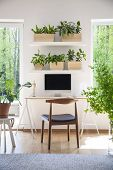 Shelves With Fresh Plants Hanging Above Wooden Desk With Empty Screen Monitor In Real Photo Of White poster