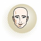 Vector Illustration Of Handsome Male Face, Positive Face Features Of Hairless Man, Clipart. poster