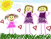 Young Girl'S Drawing Of Her Family