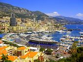 foto of grandstand  - Grand Prix of Monaco grandstand with marina and city in the background - JPG