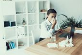 Young Sick Woman In White Shirt Sitting In Office.healthcare Concept. Modern Office. Sick Worker. He poster