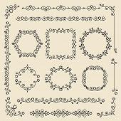 Vintage Ornaments And Dividers. Design Elements Set. Ornate Floral Frames And Banners. Vector Graphi poster