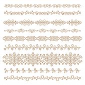 Vintage Ornaments And Dividers. Design Elements Set. Ornate Floral Frames And Banners. Vector Graphi poster