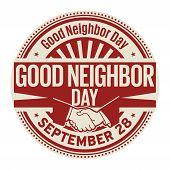 Good Neighbor Day, September 28, Rubber Stamp, Vector Illustration poster