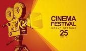 Vector Cinema Festival Poster With Old Fashioned Movie Camera. Movie Background With Words Grand Ope poster