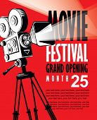 Vector Movie Festival Poster With Retro Movie Camera. Cinema Banner With Words Grand Opening And Pla poster
