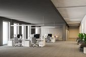 Modern Grey Office Interior With Rows Of White Computer Desks And Loft Windows. Gray Carpet On The F poster