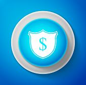 White Shield And Dollar Icon Isolated On Blue Background. Security Shield Protection. Money Security poster