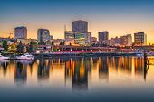 Tacoma, Washington, USA downtown skyline at dusk on Commencement Bay. poster