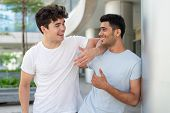 Portrait Of Happy Multiethnic Male Friends Talking And Laughing Outdoors. Young Indian And Hispanic  poster
