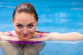 Relax, Spa Hotel, Resort Concept. Charming Woman Having Fun In Swimming Pool, Relaxing Enjoying The  poster