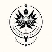 Sacred Geometry. Graphic Illustration Of A Totemic Arrow Of The Shaman. Triangular Symbol. Secret Sy poster