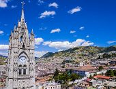 Ecuador, City View Of Quito From Gothic Basilica Del Voto Nacional Clock Tower poster