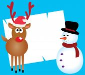 image of rudolf  - Vector illustration of a card with Rudolf and snowman - JPG