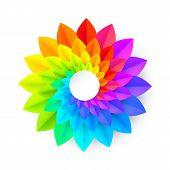 Vivid Rainbow Colors Vector Paper Spiral Spectrum Flower poster