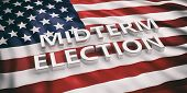 Usa Flag And Midterm Elections, 3D Illustration poster