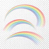 Transparent Rainbow. Vector Illustration. Realistic Raibow On Transparent Background. poster