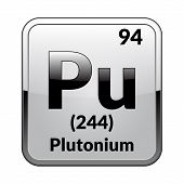 Plutonium Symbol.chemical Element Of The Periodic Table On A Glossy White Background In A Silver Fra poster