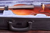 Old Violin In Box Close Up. Vintage Musical Instrument In Its Case. Musical Instrument Of Retro Styl poster