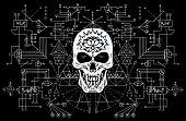 Evil Skull Against Sacred Black And White Geometry Background. Esoteric, Occult And Halloween Concep poster