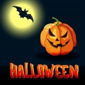Cartoon Halloween Title, Full Moon And Spooky Face Pumpkin poster