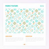 Fabric Feature Concept With Thin Line Icons: Leather, Textile, Cotton, Wool, Waterproof, Acrylic, Si poster