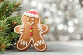 Christmas Decorations With Gingerbread Man, Fir Tree Branches And Christmas Baubles Background poster