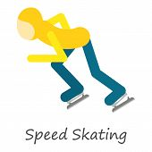 Speed Skating Icon. Isometric Of Speed Skating Icon For Web Design Isolated On White Background poster