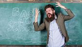 Hate School. Teacher Goes Mad About Schooling. Teacher Or Educator Stands Near Chalkboard With Inscr poster