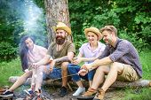 Hike Barbecue. Friends Enjoy Weekend Barbecue In Forest. Best Friends Spend Leisure Weekend Hike Bar poster