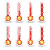 Celsius And Fahrenheit Thermometers Icon With Different Levels. poster