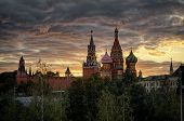 Moscow Kremlin And St Basils Cathedral At Sunset, Russia poster